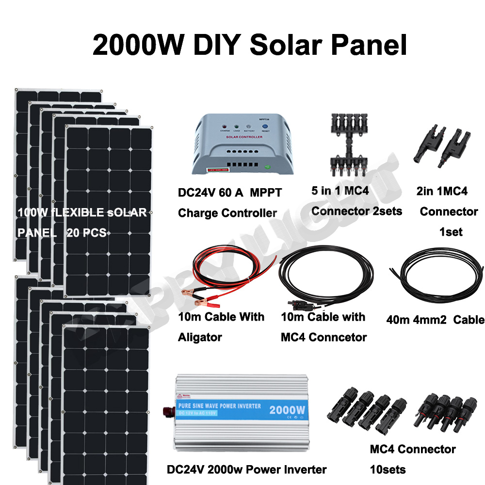 2000W DIY SOLAR ENERGY SYSTEM FOR HOME USE