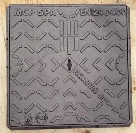Cast ductile iron square manhole cover