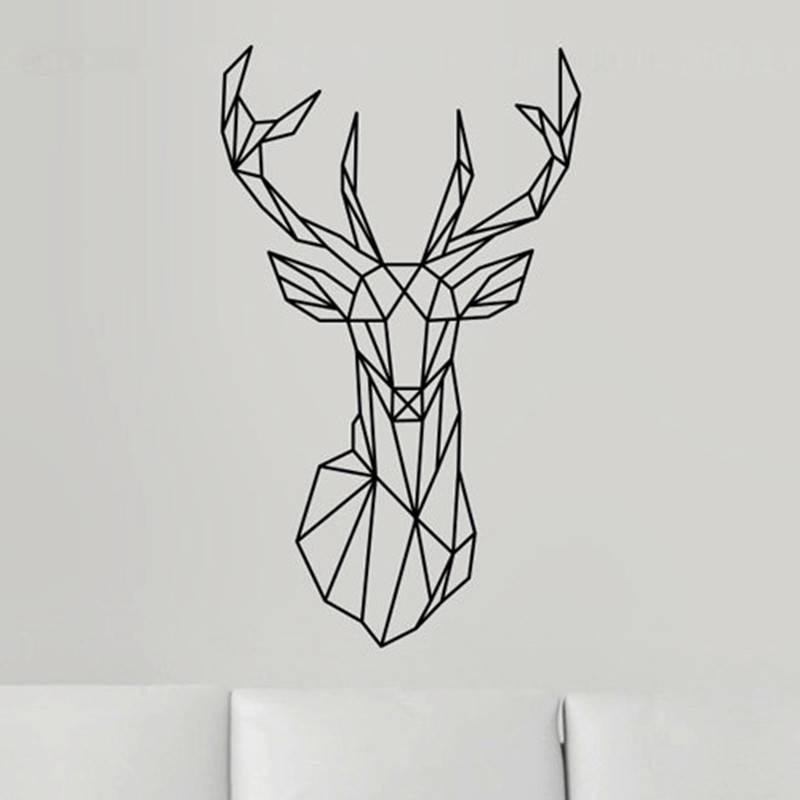 New Design Geometric Deer Head Wall Sticker Geometry Animal Series Decals 3D Vinyl Wall Art Custom H