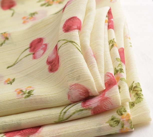 Cherry design 100% polyester crinkle chiffon print fabric