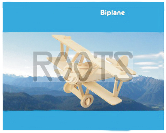 Biplane-3D wooden puzzles, wooden construction kit,3d wooden models, 3d puzzle