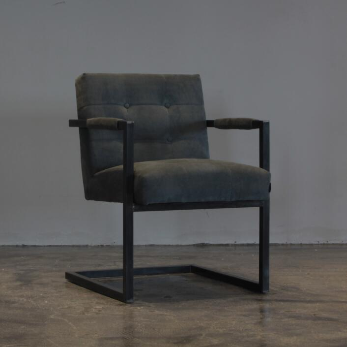 Metal Frame Leather Dining Chair with Button Back