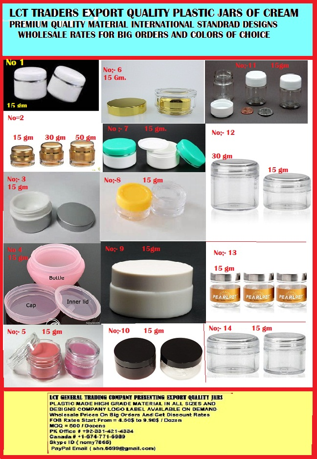 PLASTIC JARS AND BOTTLES WHOLESALE EXPORT QUALITY