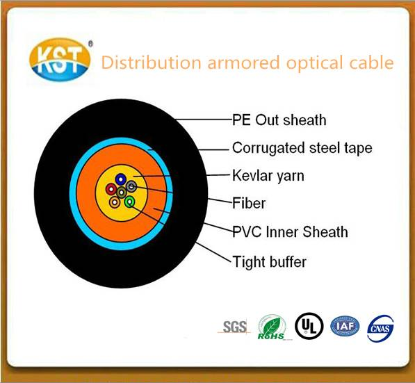 Communication cable/multiple cores Distribution Tight Buffer Armored Fiber Optical Cable