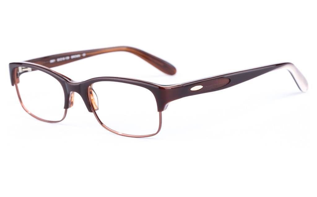 Brown 0901 Semi-rimless Oval Metal-Stainless Steel/ZYL Glasses