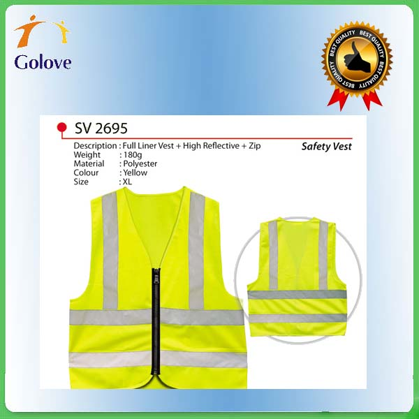 factory price hi vis yellow polyester fluorescent reflective safety vest