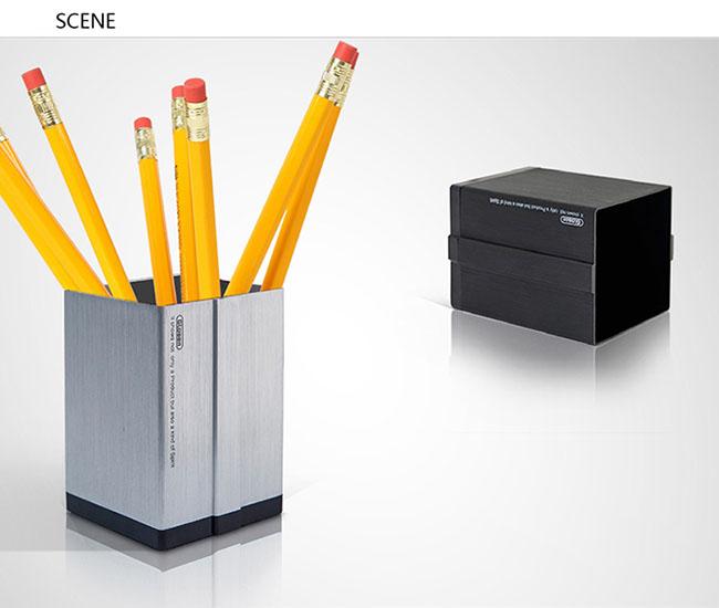 Glosen Square Shape Aluminum Pen Holder with Large Storage C2001