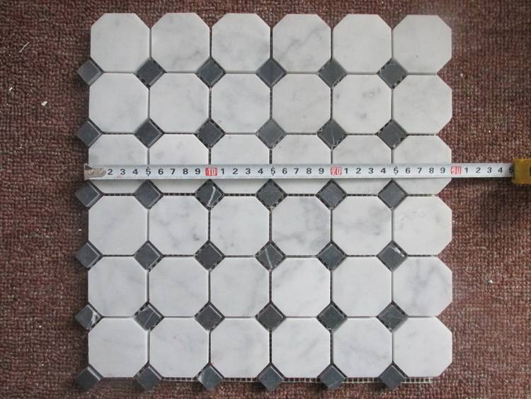 hexagon with blue dots marble mosaic