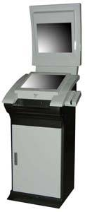 TD17 dual screen boarding pass printing self service payment kiosk with credit card reader epp 3G an