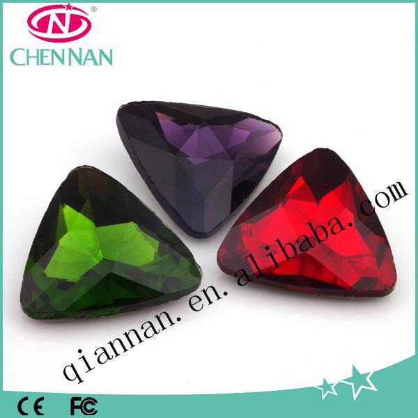 yiwu rhinestone factory A Grade Crystal triangle rhinestone with no hole
