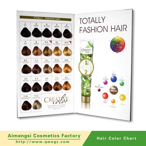 Hair color swatches chart
