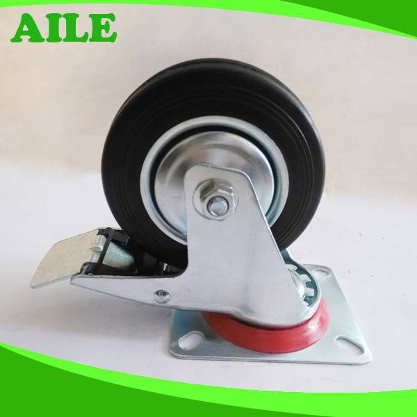 Rubber Swivel Caster With Brake