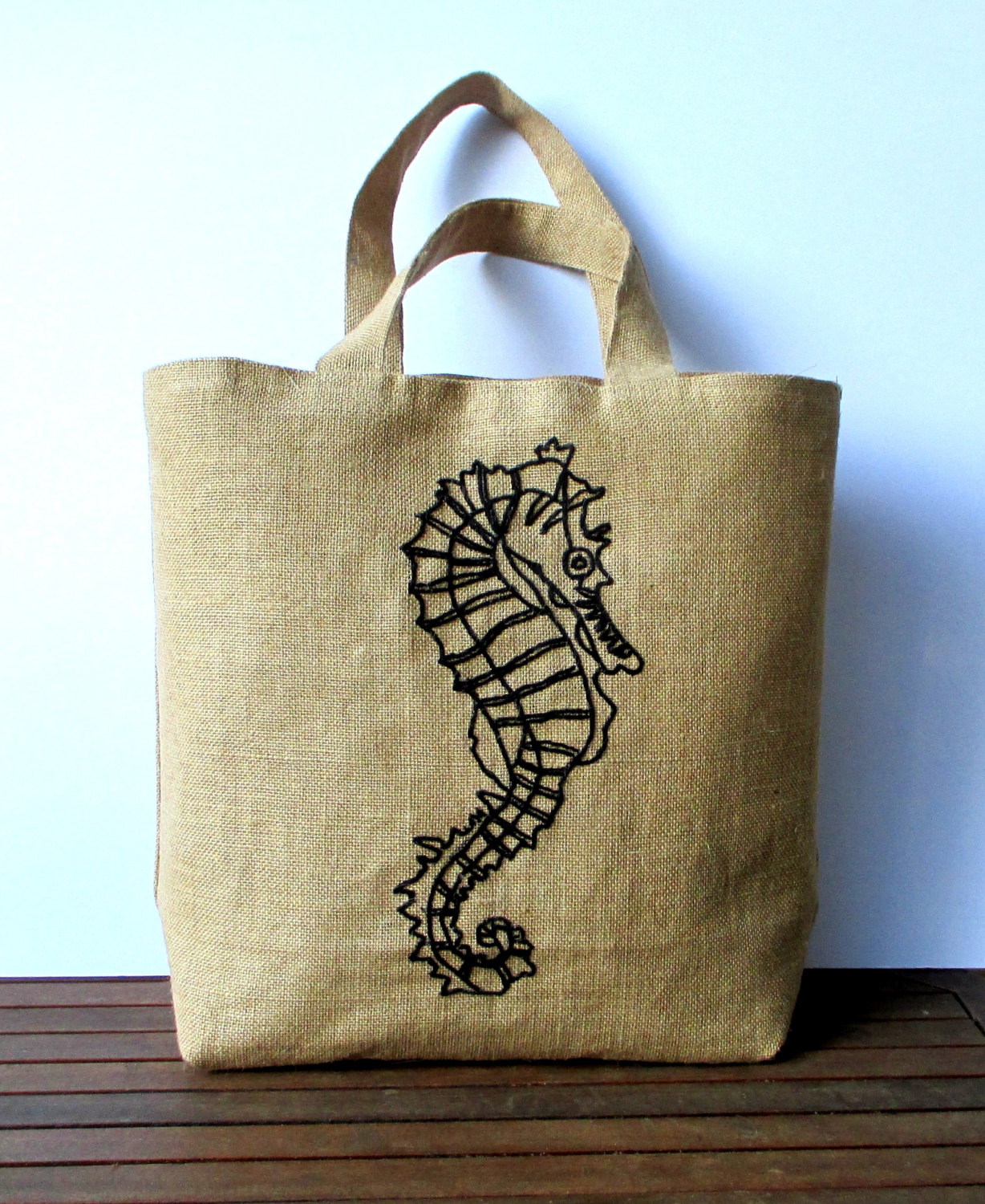 Large summer embroidered jute tote bag, hand embroidered with a seahorse in black, beach bag, shoppe