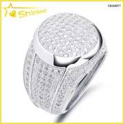 hip hop rhodium plated lab created diamond men ring