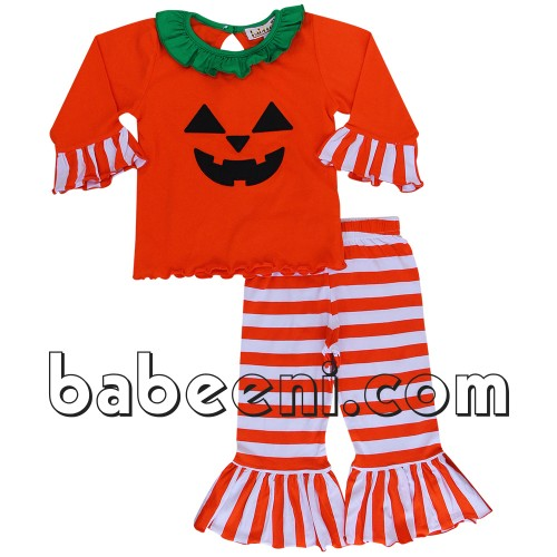 Lovely pumpkin appliqued knit set for little girl - BB339
