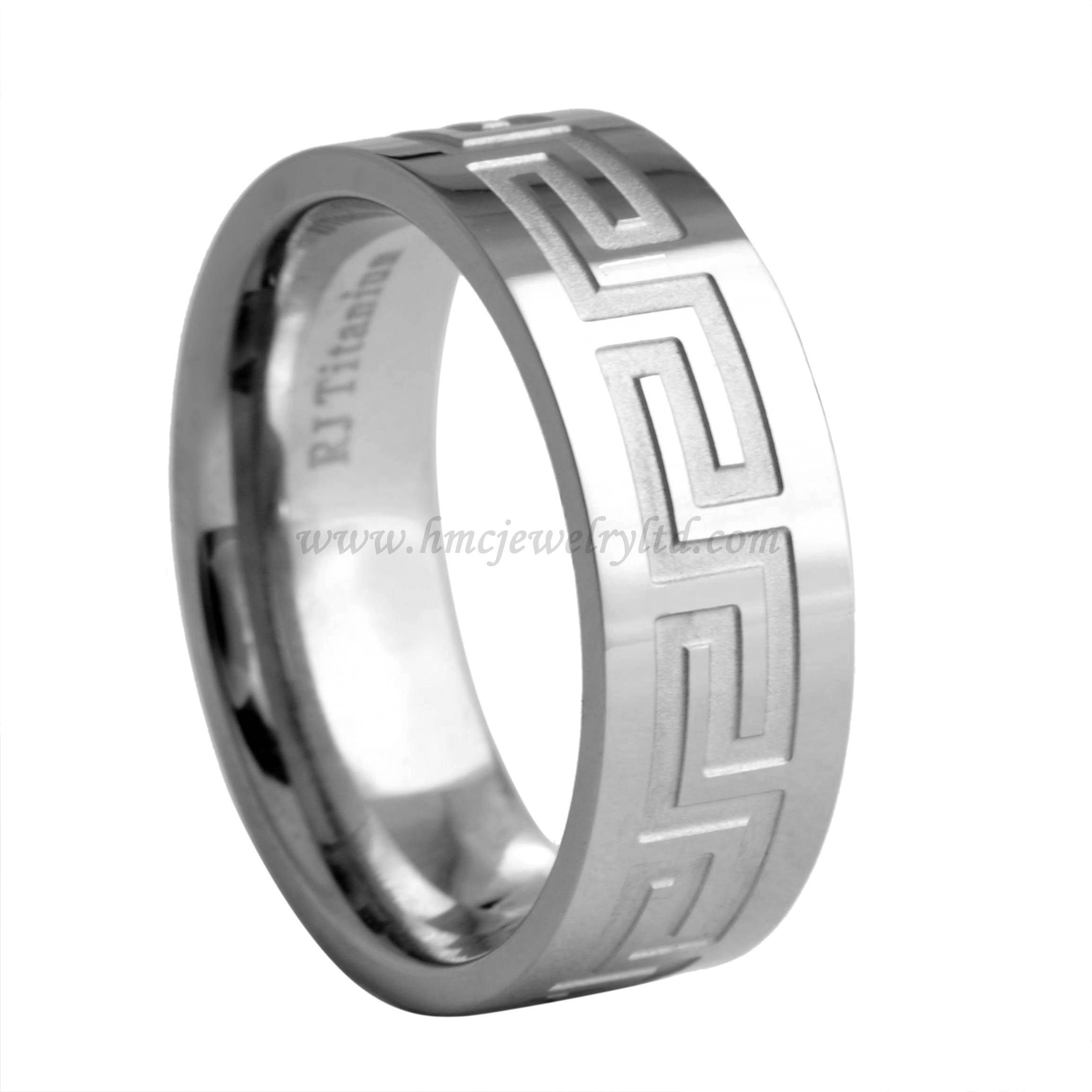 Top Quality Titanium Steel Rings, Greek Key Wedding Rings