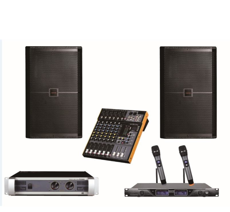 15 inch professional speaker Include power amplifier and Mixer wireless mic
