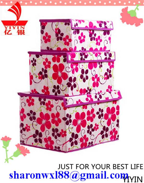 Decorative printing foldable non woven storage box household product