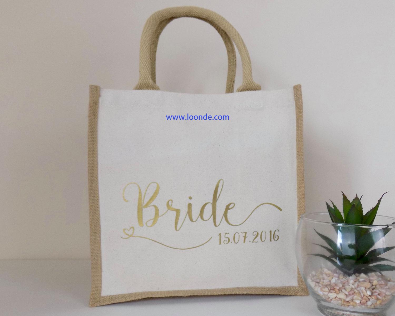 Bride Gift - Personalised Jute Bag Ideal Wedding Gift - Cotton Canvas Shopping Bag Bride Design - Pe