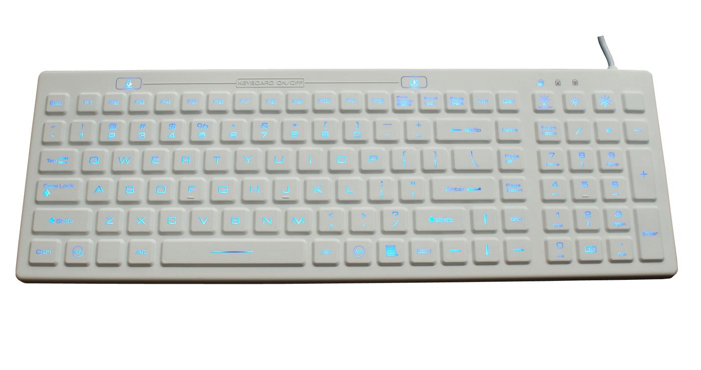 IP68 flat antibacterial backlit medical keyboard, industrial keyboard