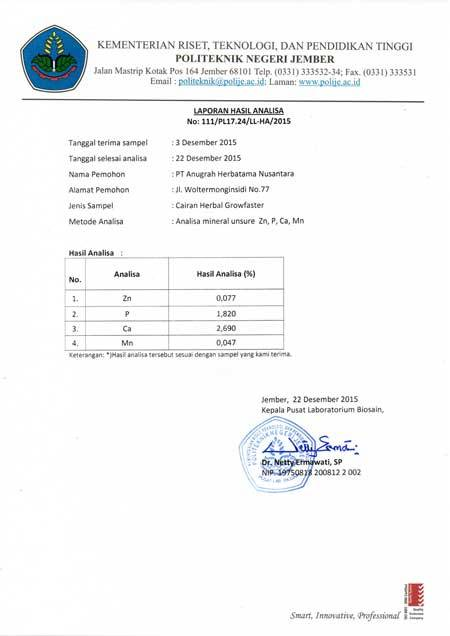 Result for Analysis of Mineral Elements