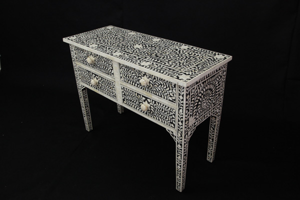 Bone Inlay 4 Drawer Console Table