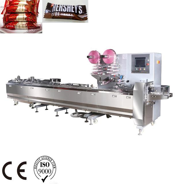 nine sevo horizontal packaging wrapping packing machinery, smart belt conveyor flow wrapping machine