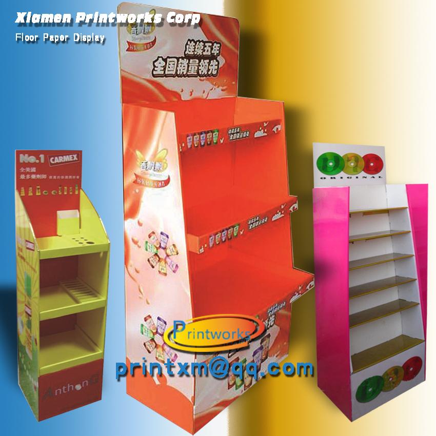 Retail supermarket cardboard pop display rack shelf