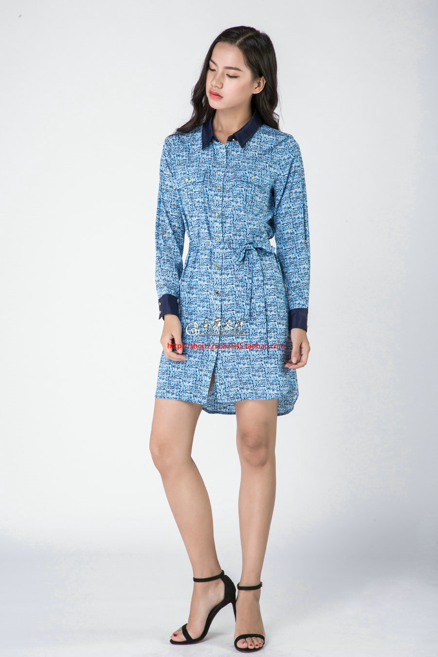 Gaoping  Wenqiong G1632 patern printed silk long sleeve women dress
