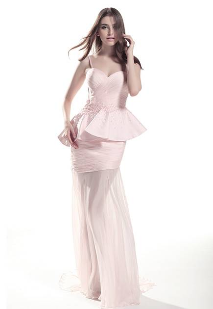 Sweetheart sheath pleated long evening dress with see through skirt