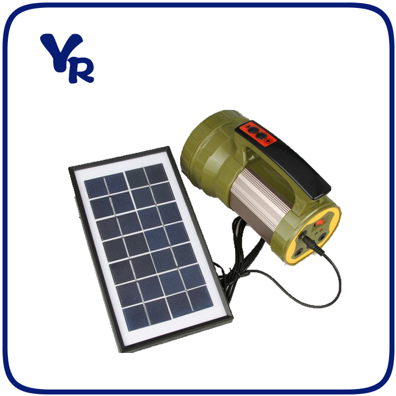 Plastic Rechargeable Portable LED Spotlights with solar panel Charger