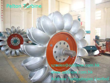 pelton type turbine for hydro power generator