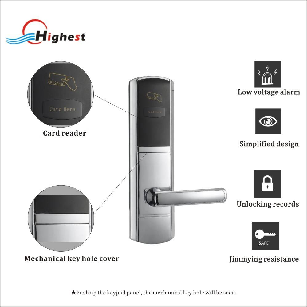 RX1068E-Y RFID electric hotel management system door lock