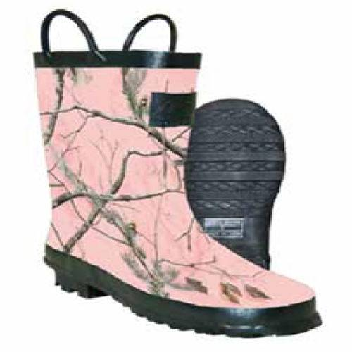 Pink rubber boots with black trim on the loop