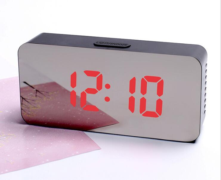 LED Mirror Alarm Clock Digital Snooze Table Clock Temperature Display