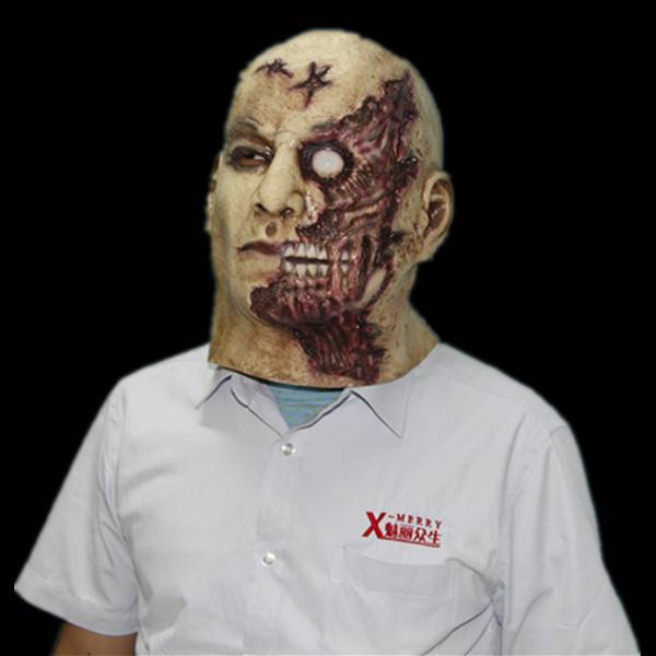 flesh eater latex mask scary zombie halloween prop