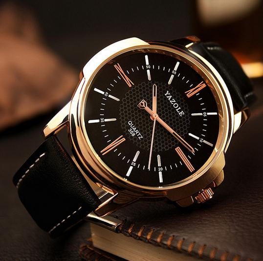 Fashion high quality waterproof business watches mens leather unique watches