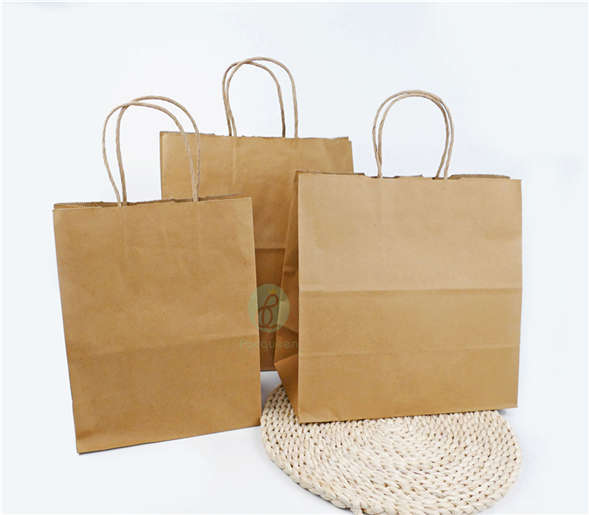 Stock / Customized Recyclable Brown Kraft Paper Carrier Bags