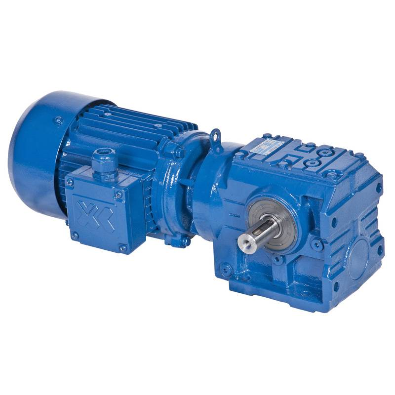 Helical worm geared motor