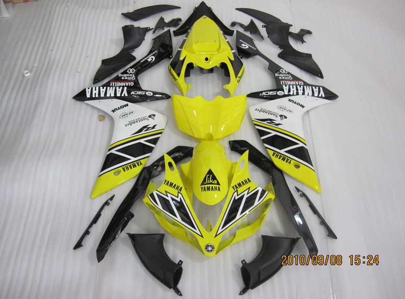 YZF-R1 2007 to 2008 aftermarket body work Yellow White Black replacement injection bike fairings