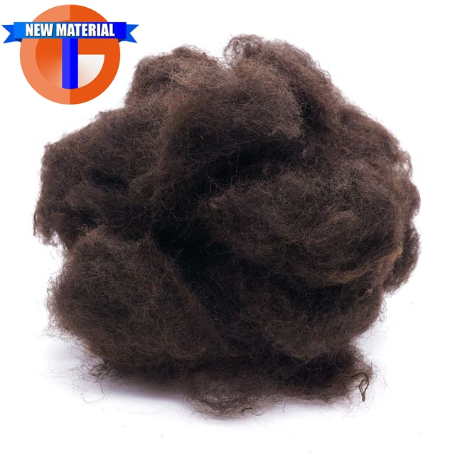 6Dx64mm Recycled Polyester Fiber Brown Color for Needle Punched Nonwoven