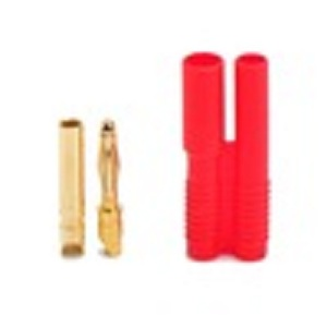 2.0mm red housing gold plated connector,two hole copper plug