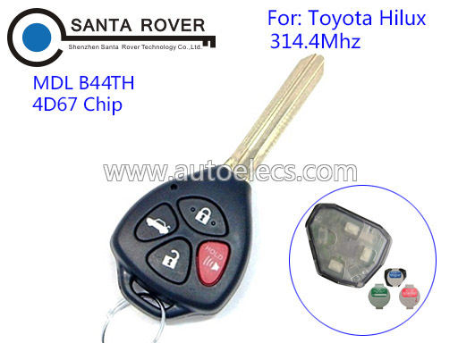 Auto Key Keyless Entry For Toyota Hilux Remote Key Fob 4 Button 314.4Mhz 4D67 Chip