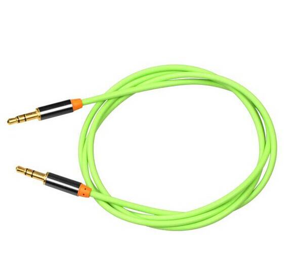 Green TPE 3.5mm gold plated Audio AUX cable