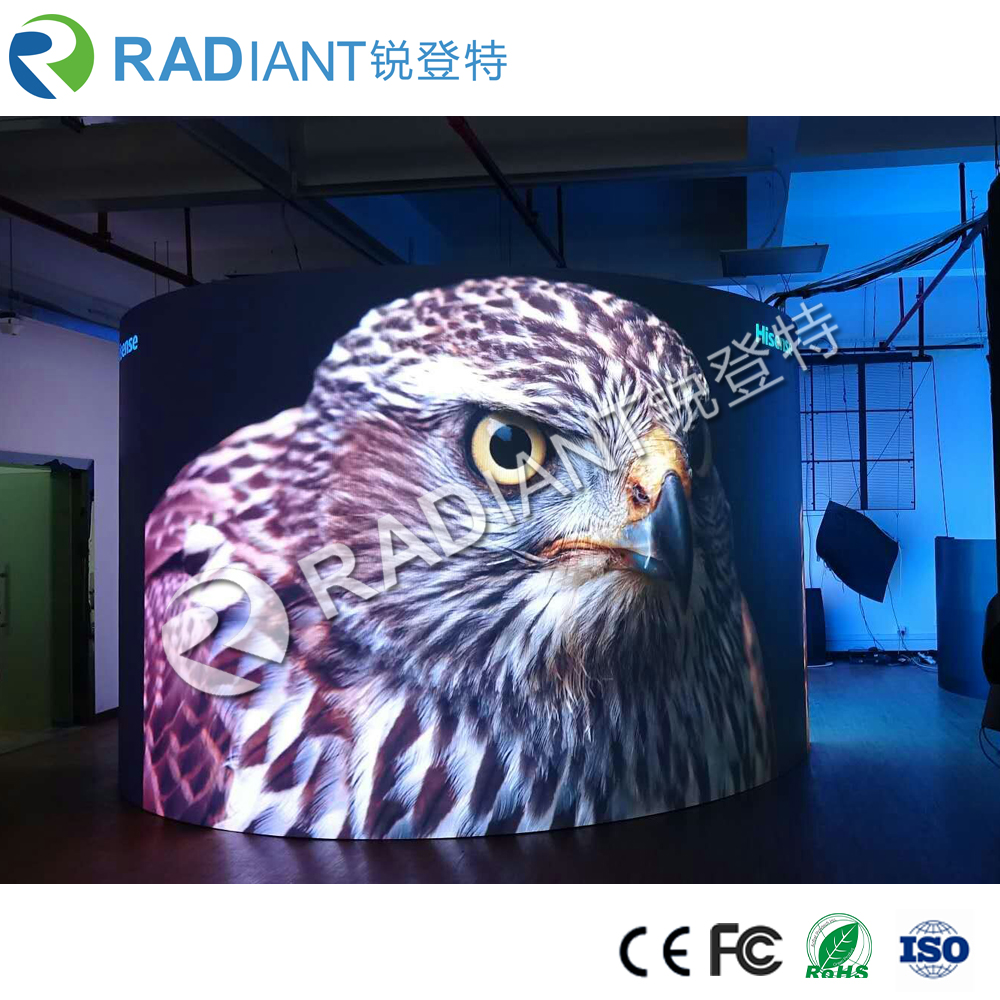 Shenzhen P2.5 indoor full color curved flexible led video display manufacturer