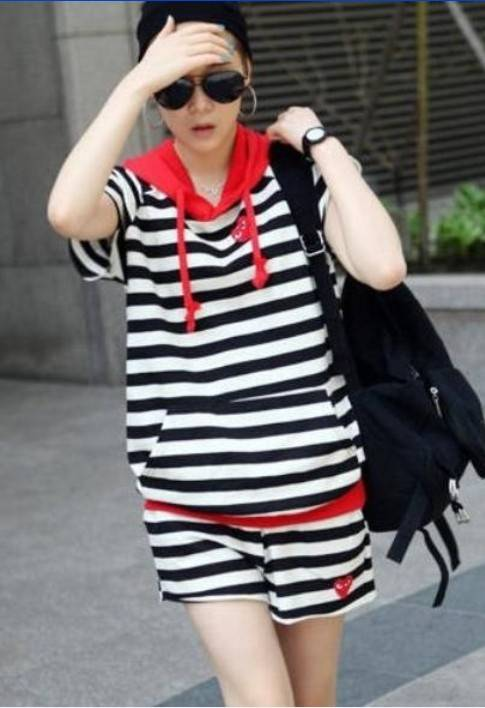 Wholesale Casual Striped Tee+Fashion Pants