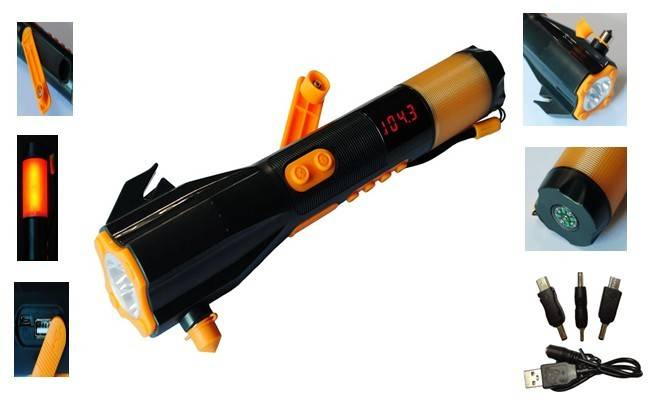 FL-703 9-in-1 flashlight with Deluxe Car Emergency Tool, Crank dynamo radio waterproof LED tourch, C