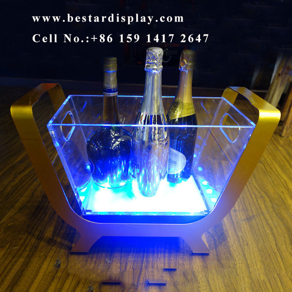 Custom design led lighted acrylic ice bucket
