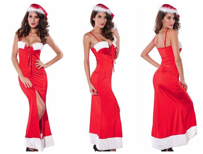 2014 New Arrival Sexy Costumes Sexy Santa Christmas Lace Up Long Gown