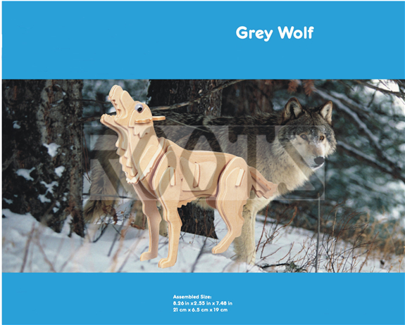 Wolf-3D wooden puzzles, wooden construction kit,3d wooden models, 3d puzzle